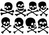Set of pirate skulls and crossbones