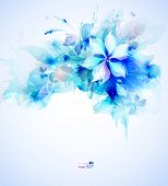 Light abstract blue poster with flower bouquet