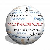 pic of domination  - Monopoly 3D sphere Word Cloud Concept with great terms such as business industry dominance and more - JPG