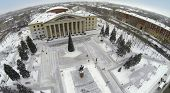 RUSSIA, SAMARA - JAN 8, 2014: Aerial view to Palace of Culture Victor Litvinov with christmas tree