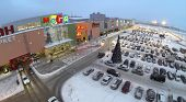 SAMARA, RUSSIA - JAN 05, 2014 : Aerial view to territory of store Mega in Samara with car parking in