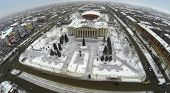 RUSSIA, SAMARA - JAN 8, 2014: Aerial view to Palace of Culture Victor Litvinov with monument.