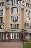 KIEV, UKRAINE -APR 21, 2014: Typical modern residential area. A recently built block of apartments .