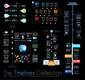 Timeline Infographic design templates Set 1 on Black.  With paper tags. Idea to display information,