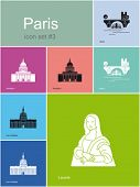 Landmarks of Paris. Set of flat color icons in Metro style. Editable vector illustration.