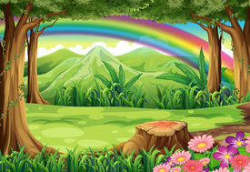 stock photo of landforms  - Illustration of a rainbow and a forest - JPG