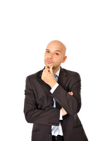 picture of bald head  - Caucasian Happy Young Business Man with bald head Thinking Doubting and Considering a Decision Isolated in White Background - JPG