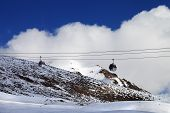 picture of lifting-off  - Gondola lifts at evening - JPG
