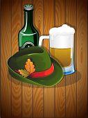 Beer Glass, Bottle And  German Oktoberfest Hat