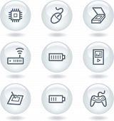 Electronics web icons set 2, white circle buttons