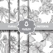stock photo of manufacturing  - Set of 8 elegant seamless patterns with hand drawn decorative flowers design elements - JPG