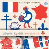 foto of french culture  - set of principal symbols of French Republic flag map and slogan - JPG