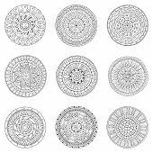 Set of hand drawn circles, vector logo design elements. Doodle style. Style Circle mandala vector bl