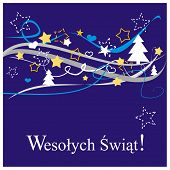 Christmas vector card or invitation for party with Merry Christmas wishes in polish: Wesolych swiat.