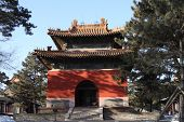 stock photo of zedong  - Chinese pavilion under clear blue sky in winter time - JPG