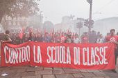 Thousands Of Students March In The City Streets In Milan, Italy