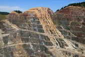 stock photo of ore lead  - Homestake open pit gold mine in Lead South Dakota - JPG