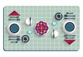 Table setting for breakfast. Top view of desk background with utensils, flowers and tablecloth