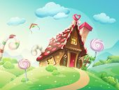 stock photo of ginger bread  - Illustration of sweet house of cookies and candy on a background of meadows and growing caramels - JPG