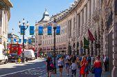 LONDON, UK - 22 JULY, 2014: Regent street named after Prince Regent, completed in 1825