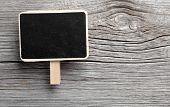 Vintage Slate Chalk Board Hanging On Wooden Background