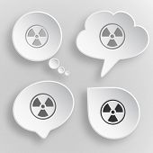Radiation symbol. White flat vector buttons on gray background.