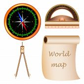 stock photo of protractor  - Icons accessories tourist - JPG