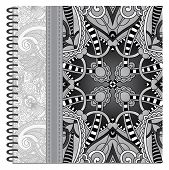grey design of spiral ornamental notebook cover