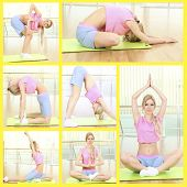 Collage of young woman practicing yoga