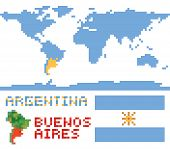 Argentina on world map, border shape flag and capital buenos aires