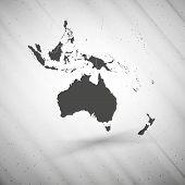 Australia map on gray background, grunge texture vector illustration
