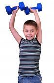 Isolated Portrait Of Elementary Age Boy With Dumbbells Exercising