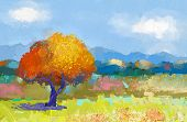 stock photo of canvas  - Oil painting of a colorful rural landscape - JPG