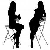 silhouette of the slender woman with beautiful long legs