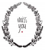 pic of miss you  - Miss you design card with floral vignette and red heart - JPG