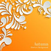 picture of orange  - Abstract Autumn Orange Background with 3d Floral Pattern - JPG