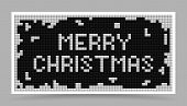Vector White Christma Card in Game Block Style
