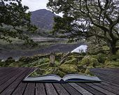 Landscape Image Of Mountain Reflected In Still Lake On Summer Morning Conceptual Book Image