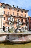 Beautiful Fontana del Moro on Piazza Navona in Rome, Italy