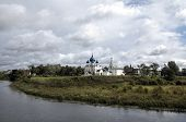 View of Suzdal Kremlin: Cathedral of the Nativity of the Virgin,  bell tower and St. Nicholas church
