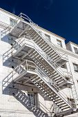 Bright Exterior Diagonal Staircase
