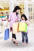 Mother And Daughter Shopping At Mall
