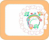 Holiday Background With Owl, Love Hearts, Flowers And Birds