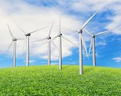 Wind Turbines On Grass