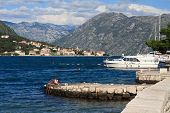 A Small Harbor For Boats In The Bay Of Kotor, Montenegro