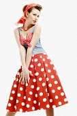 Pin-up young woman in vintage American style