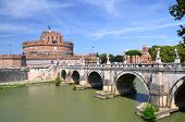 Majestic Castle of Saint  Angel over the Tiber river in Rome, Italy