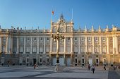 The square of the Madrid Royal Palace at the calming sunset.
