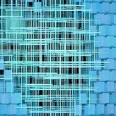 Turquoise Grid And Square Shape Abstract Background.