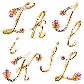 Bronze Alphabet With Colored Gems Letters I,j,k,l